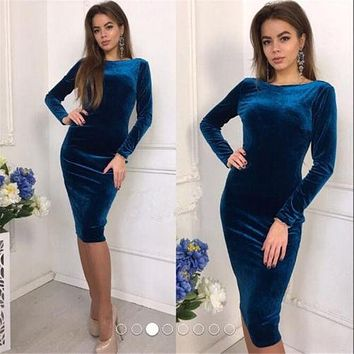 Hirigin Autumn Women Bandage Bodycon Casual Long Sleeve O-neck Evening Party Midi Sexy Velvet Dress