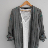 Vintage Sweater Grey Cardigan Jersey Coloured Stripes Button Up. Size Medium