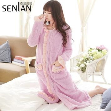 Winter Warm Long Sleeve Women's Robe Sweet Lady's Fleece Flannel Nightgown Free Shipping