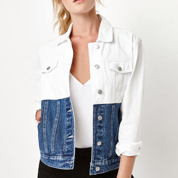 PacSun Red and Blue Colorblock Denim Trucker Jacket at PacSun.com