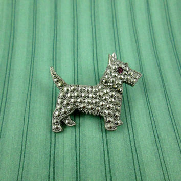 Vintage Scottish Terrier Scotty Dog 1928 Jewelry Company Pin Brooch Silver Covered in Marcasites Adorable for Dog Pet Lover