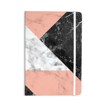"KESS Original ""Geo Marble and Coral"" Black Art Deco Everything Notebook"