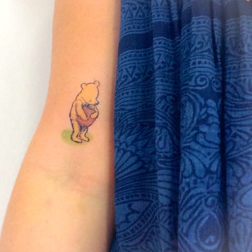 2 Vintage Pooh Bear Temporary Tattoo- GeekTat - Stocking Stuffer