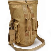 ZLYC Men Vintage Casual Canvas Leather Hiking Outdoors Travel Backpack Rucksack Tote Bag Khaki