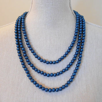 Pearl necklace: Multi strand navy blue glass beads, unique for wedding, Bridesmaid Gifts, Mother of the Bride, Bridal, Birthday, Mum jewelry