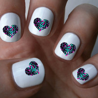 Geometric Heart Nail Art Decals Nail Stickers