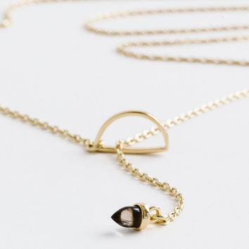 Smoky Quartz Half Moon Lariat by Bing Bang for Of a Kind