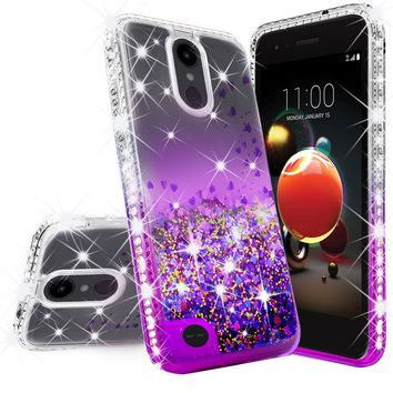 LG Aristo 2 Case, Aristo 2 Plus Case Liquid Glitter Phone Case Waterfall Floating Quicksand Bling Sparkle Cute Protective Girls Women Cover for Aristo 2 Plus/Aristo 2/Tribute Dynasty/LV3 2018 - Purple