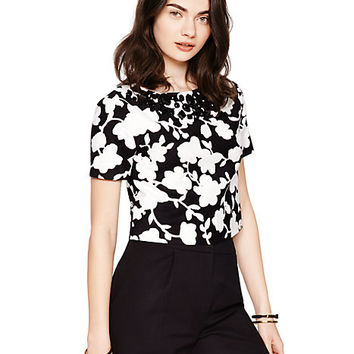 Kate Spade Graphic Floral Crop Top Black