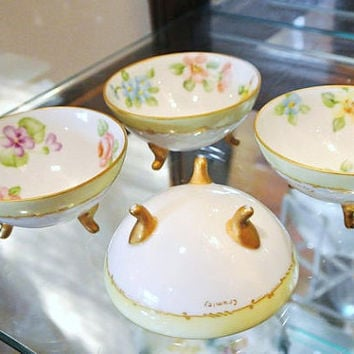 Antique 1900s Hand Painted Porcelain Footed Nut Bowls Victorian Dishes Open Salt Cellars Gold Trim Flowers Floral Design Set of Four