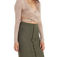 Long Sleeve Cut-Out Wrap Crop Top by Charlotte Russe