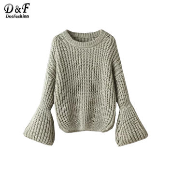 2017 Women Autumn Fashion Knitted Sweater Chunky Sweater Drop Shoulder Lantern Sleeve Oversized Sweater