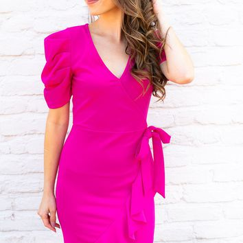 Remind Me Mock Wrap Pink Dress