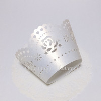 Cupcake Wrappers Wedding   Cupcake Liners   Decoration Party Baby Shower Birthday Christmas   Pearly White Classic Rose Filigree (12pcs)