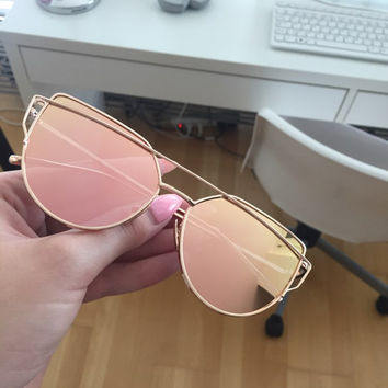 2016 Cheap Cat Eye Sunglasses Women cateye Lady vintage retro Coating Mirror Metal Flat Lens Glasses lunette de soleil MFTYJ017