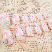 Fake Nails - Vintage Light Pink Nail Set - Floral Nails - Polka Dots Rose Nail Art - Reusable Press On False Nails - Medium Long Nail Tips
