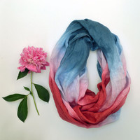 Long Linen Scarf - Spring Infinity Scarf - Hand Dyed Linen Scarf - Gift - Red Blue Scarf - Fashion Scarves - Linen Shawl