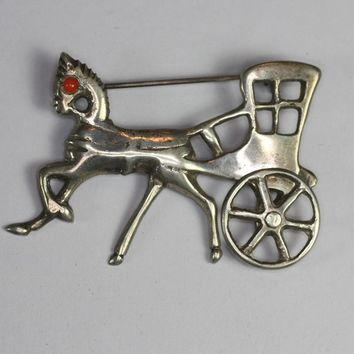 Vintage Horse and Buggy Brooch Movable Wheel Mexican Sterling
