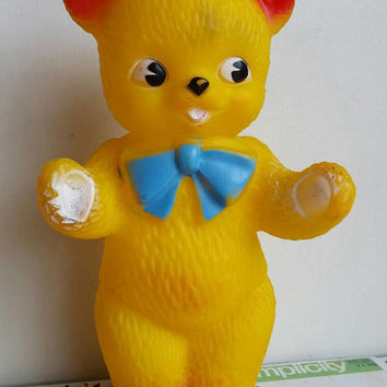 Kitsch Vintage Plasticraft Made in Australia  Rubber sunshine yellow Teddy Bear nursery decor squeak toy collectable