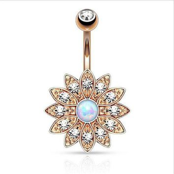 ac PEAPO2Q Hot Surgical Steel Big Flower Dangle Belly Button Ring Sexy Crystal Double Piercing Barbell Navel Piercing Fashion Body Jewelry