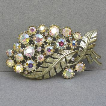 Signed CORO Pegasus 1950's AB Rhinestone Large Flower Spray Pin