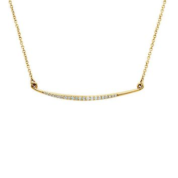 1/8 Ctw Diamond Curved Bar Necklace in 14k Yellow Gold, 16 Inch