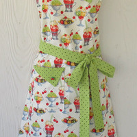 Mint Ice Cream / Cherries / Retro Full Apron / Green Polka Dots