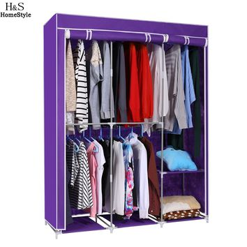 Modern Style Home DIY Portable Closet Storage Organizer Wardrobe Clothes Rack With Hanger Dark Purple Ship From US T20*
