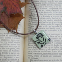 Floral Print Necklace, Small Leaf Pendant, Nature, Rustic, Up Cycled Charm Necklace, Floral Nature Jewelry, Leaves Necklace, Gift, Stockings