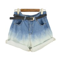 High Waisted Bleach Short