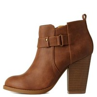 Tan Belted Chunky Heel Ankle Booties by Charlotte Russe