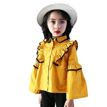 Girls Princess Blouse for Children Clothes  New Hot Spring Autumn Lace Tops Shirt Baby Kids Fashion Design Blouse