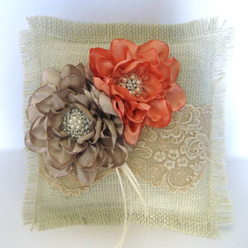 Ring Bearer Pillow Ivory Burlap and Champaign Lace with Champaign and Peach Satin Flowers and  Pearl and Rhinestone Accents Custom Order