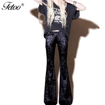 New Fashion Velvet Flare Pants Women Trousers Casual High Waist Streetwear Full Length Elegant Trousers for Women Female P40