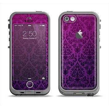 The Purple Delicate Foliage Pattern Apple iPhone 5c LifeProof Fre Case Skin Set