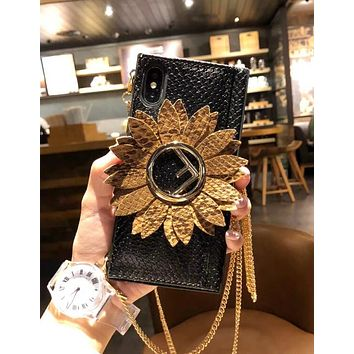 2018 FENDI Fashion Women Personality Sunflower Pattern Hand Catenary Style Mobile Phone Cover Case For iphone 6 6s 6plus 6s-plus 7 7plus iPhone8 iPhone X I12916-1