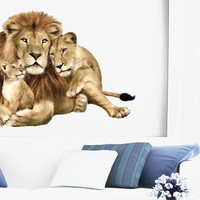 Fulcolor Wall Decal Vinyl Sticker Decals Art Decor Design Lion Family Gift Leopard Animal Color Bedroom Office Dorm Holl  (rcol32)