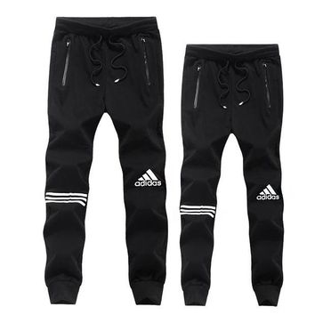 ADIDAS Popular Women Men Leisure Drawstring Logo Print Pants Trousers Sweatpants Exercise Fitness Sport Pants Black I