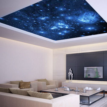 Ceiling STICKER MURAL space blue stars galaxy night decole poster