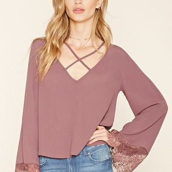 Contemporary Strappy Bell-Sleeve Blouse