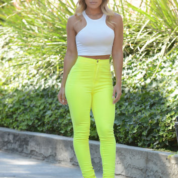 Super High Waist Denim Skinnies - Neon Yellow