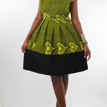 African Print Pleated Dress - Yellow/Navy Blue Floral Print
