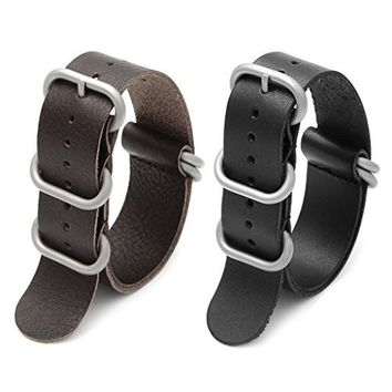 2pc 20mm Nato Ss Leather Strap Black Brown Leather Replacement Watch Strap w...