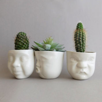 Small Porcelain Planters / Cups Set - Cacti Love Story / Ceramics & Pottery / Home Decor / Housewares / Art / Handmade by SCULPTUREinDESIGN