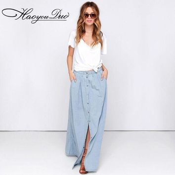 ICIKL3Z HAOYOUDUO 2017 Summer All Match Cotton Casual Single Breasted Buttons Long Washed Denim Skirt High Waist Maxi Skirts for Women