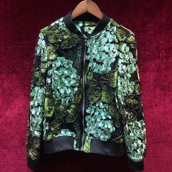 Trendy New Designer Runway Autumn Short Jacket Fashion High Quality Long Sleeve Stand Collar Embroidery Beads Green  Short Overcoat AT_94_13
