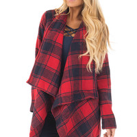 Red and Navy Long Sleeve Thick Knit Cardigan
