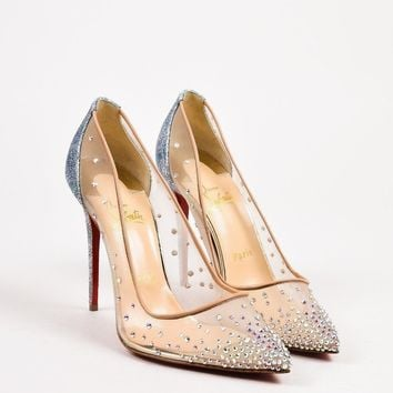 PEAPU2C Christian Louboutin New Beige Metallic Silver Mesh Crystal Follies Pumps SZ 38
