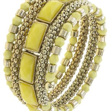 FAUCETED FAUX STONE ACCENT SPRING WIRE WRAP BRACELET