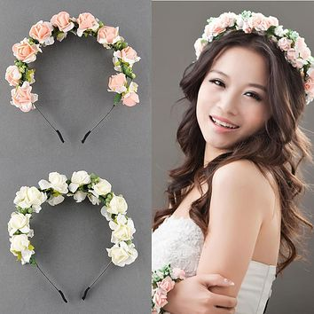 Stylish Women Girls Floral Headband Bohemia HairBand Flower Garland Wedding Prom Head wrap Hair Accessories Gift 2017 NewArrival